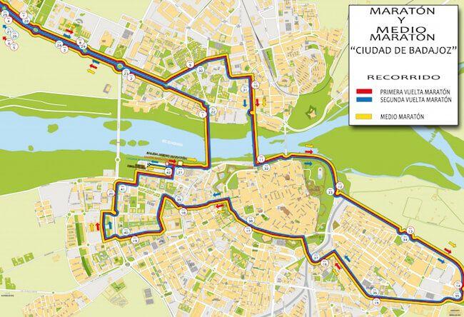 Recorrido Maratón y Media Maratón 2018 Badajoz
