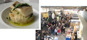 Salón de la Gastronomía de Fehispor con un plato elaborado de bacalao